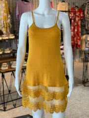 YAH Crochet Trip Slip Dress - Mustard (Front)