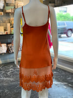 Load image into Gallery viewer, Crochet Trip Slip Dress - Rust (Back)