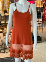 Load image into Gallery viewer, Crochet Trip Slip Dress - Rust (Front)