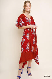 Floral Dot Print V-Neck Asymmetrical Dress - Model (Front)
