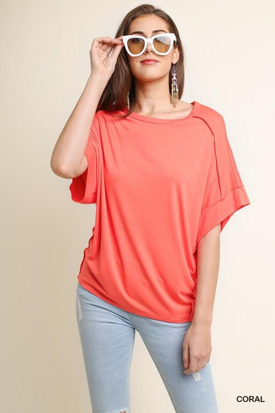 Basic Knit Top - Model (CORAL Front)