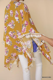 Floral Tassel Crochet Kimono - Model (Closeup Back Side)
