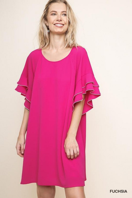 Layered Ruffle Crepe Dress - Model (FUCHSIA Front)