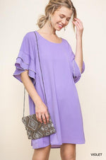 Load image into Gallery viewer, Layered Ruffle Crepe Dress - Model (VIOLET Front)