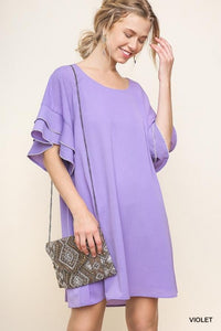Layered Ruffle Crepe Dress - Model (VIOLET Front)