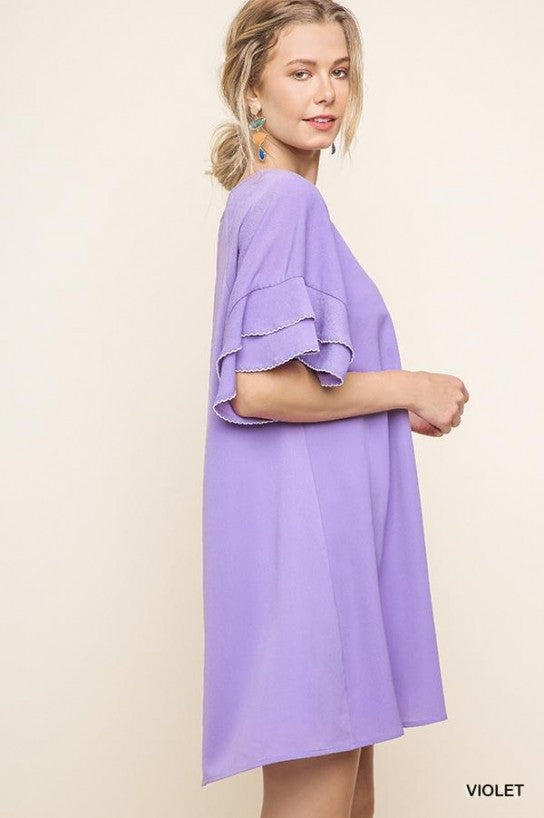 Layered Ruffle Crepe Dress - Model (VIOLET Side)