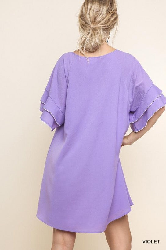 Layered Ruffle Crepe Dress - Model (VIOLET Back)