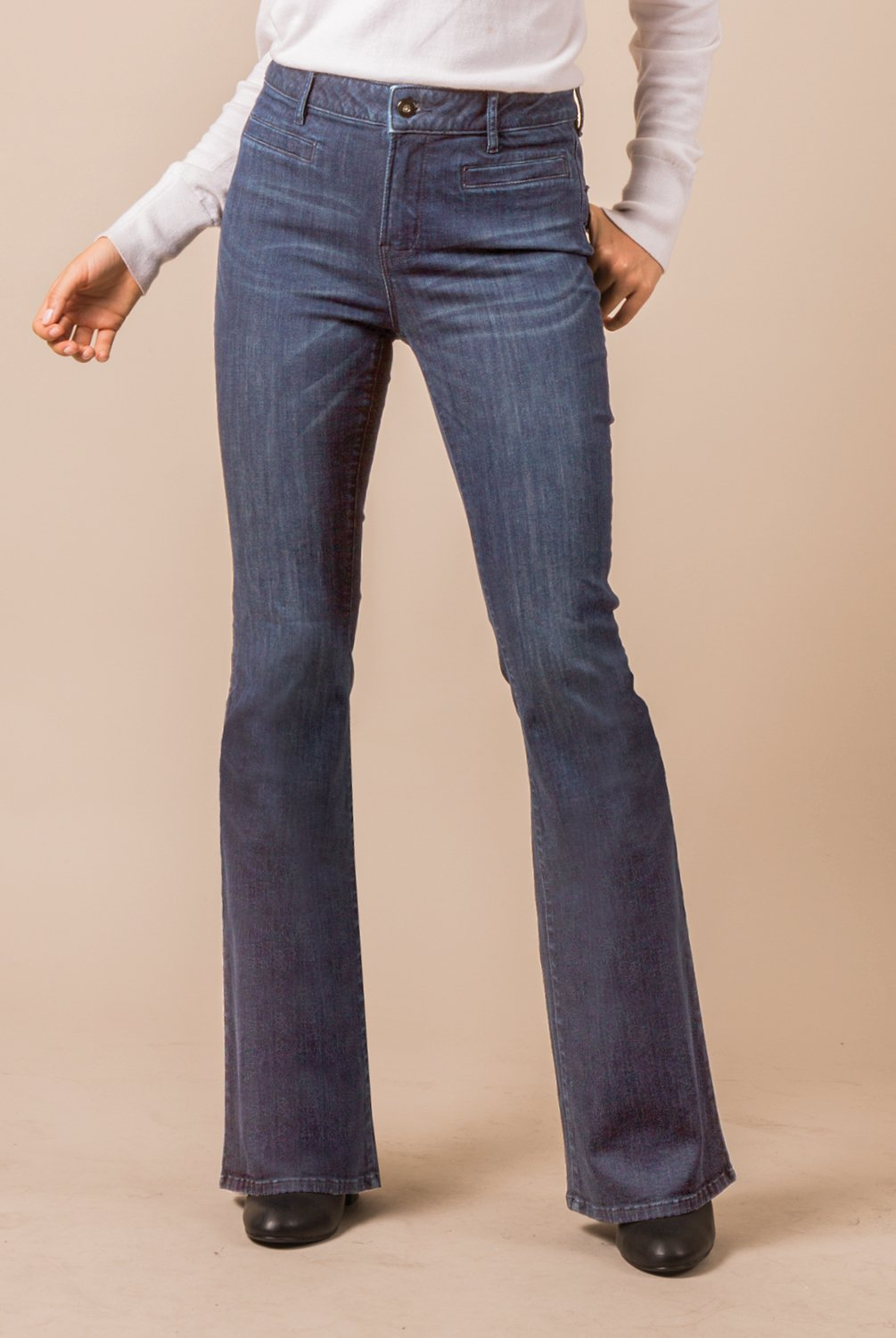 Boot Cut Jeans - Medium Wash Denim (Front)