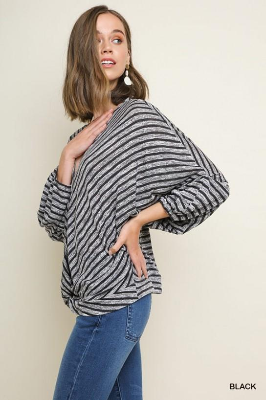 Striped V-Neck Surplice Top - Model (Side)