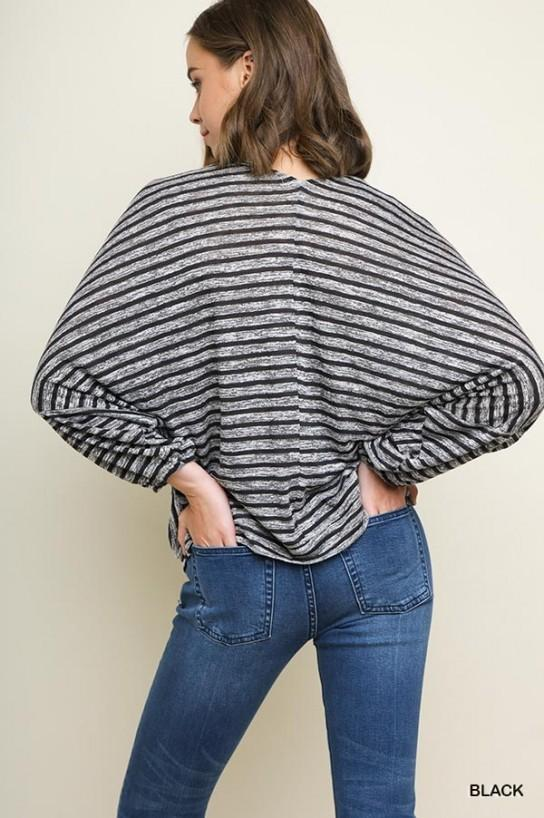 Striped V-Neck Surplice Top - Model (Back)