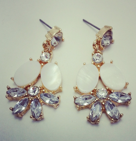 Statement Earrings Clear Crystal - Queen of Spring