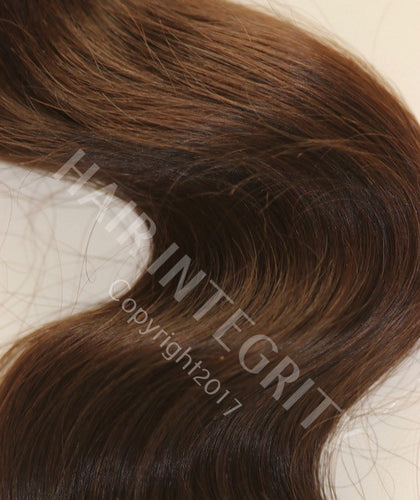 Image of Body wave Remy virgin Indian hair weft. Hair color is #2 brown