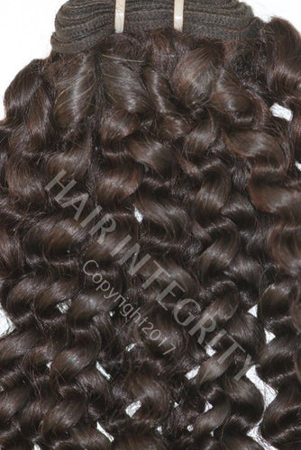 Image of kinky curly virgin Remy wefted hair in #2 brown made from raw virgin hair.