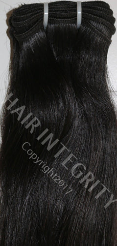 Image of 1B Black virgin Remy Indian hair weft in straight pattern