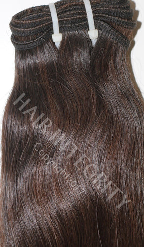 Image of unprocessed raw Indian virgin straight hair. Hair color is #2 Brown