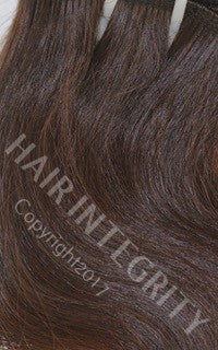 Image of wefted hair brown color #2 wavy unprocessed raw virgin hair