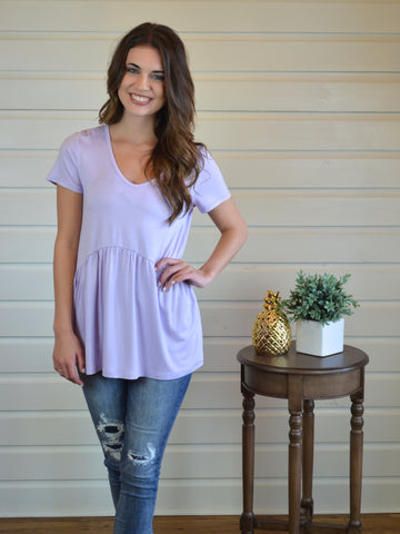 Aria Babydoll Top- Lilac - The Posh Pineapple Boutique