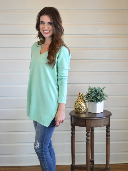 Whatever It Takes Lightweight Sweater- Mint - The Posh Pineapple Boutique