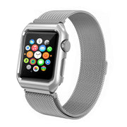 Apple Watch Band Milanese Loop Mesh iWatch Strap with Metal Protective Screen Bumper Case. - Yesgo
