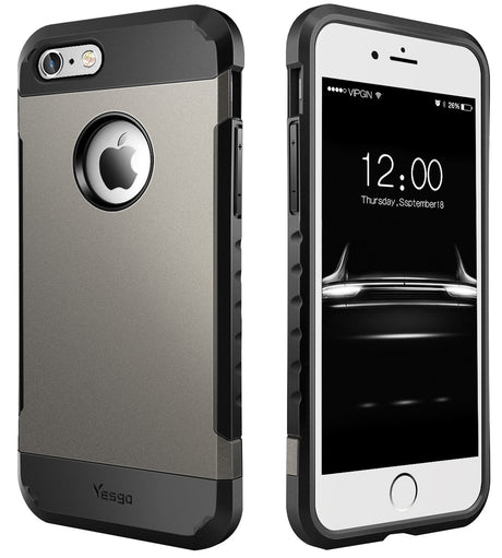 iphone 6/6s plus Shockproof Dual layer Rugged Case-Gunmetal - Yesgo