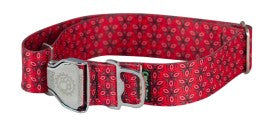 Collar - LG, Ecoweave Wide, Metal Buckle - Red Tri