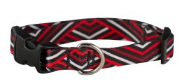 Y - Collar - SMALL, Skinny Width,  Ecoweave - Red Black Diagonals