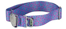 Collar - LG, Ecoweave Wide - Purple Blue Space Dots