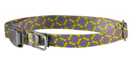 Collar - MED, Ecoweave - Yellow Purple Spacedots