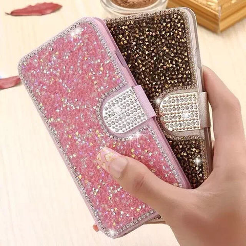 Glittering Diamond Clamshell Phone Case for iphone Samsung
