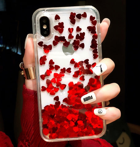 Cute Shiny Glitter Moving Quicksand Liquid Clear Soft TPU Phone Case Cover For iPhone X / iPhone 6 6s 7 8 Plus Phone Accessories for Girls Women