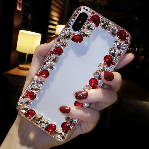 Luxury Mixed Bling Red Blue Crystal Diamond Cover Coque Colorful Glitter Rhinestone DIY Phone Case Fundas for Apple iPhone Android Samsung Galaxy Huawei Cellphone, and Mobile Phone Cover for Galaxy Note 9 / S9 S9 Plus for iPhone XS Max / iPhone XR / XS &