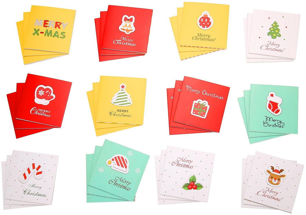48 pcs Merry Christmas Greeting Cards & Envelopes -12 Designs Xmas Party Supplies Invitation