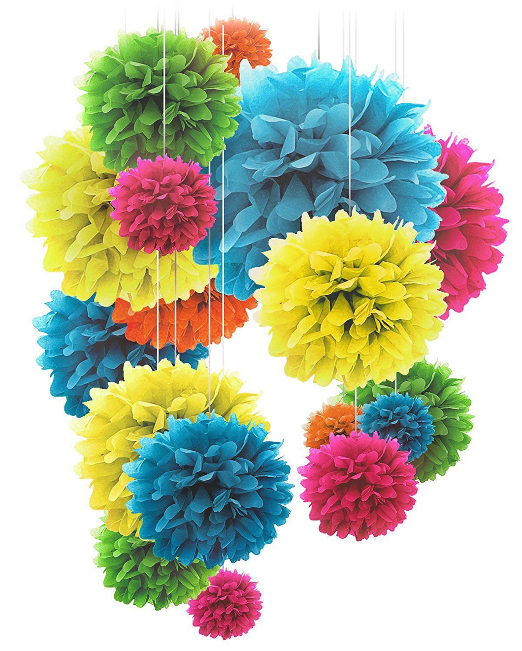 Paper Pom Poms - 20 pcs of 8, 10, 14 Inch - Paper Flowers - Perfect ...
