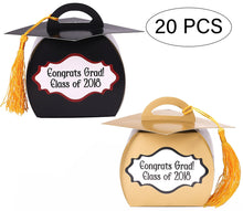 Graduation Favor Boxes 2018 -Grad Party Supplies/ Cap Decorations - Black Gold