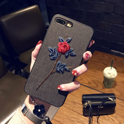 Embroidery Flower Phone Case for Samsung iphone Vivo Oppor