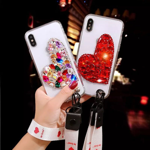 Heart Diamond Clear Phone Case for Samsung Galaxy iphone