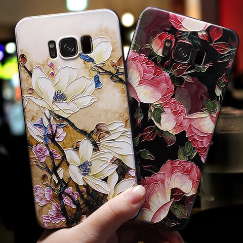 Soft Silicone Floral Phone Case for Samsung S8 S9