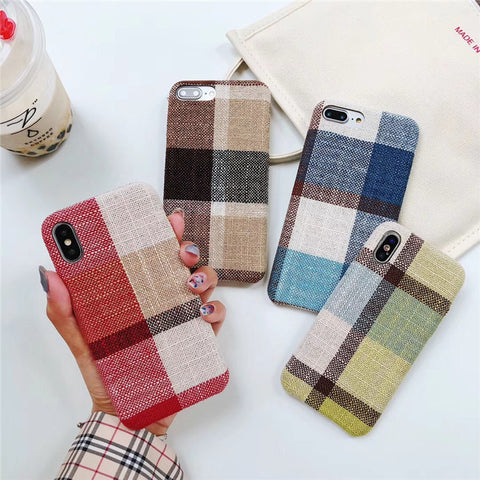 Linen Plaid Phone Case for iphone Felt Material
