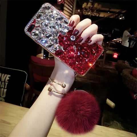 Luxury Diamond Hair Ball Phone Case for iphone Samsung