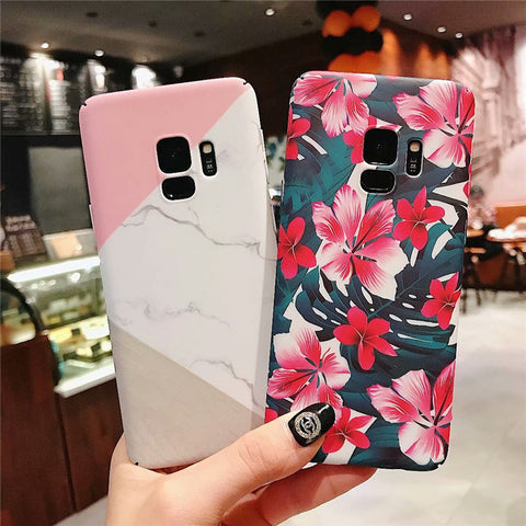 Marble Floral Phone Case for Samsung iphone