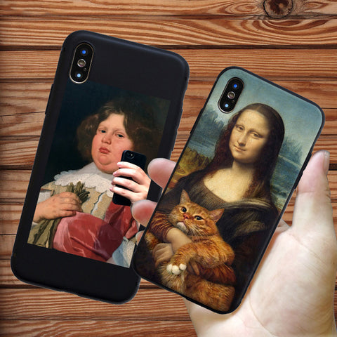 Funny Pat Cat Art Aesthetics painting Soft Silicone Phone Case Cover Shell For Apple iPhone 6 7 8 Plus X S XR XS Max Case