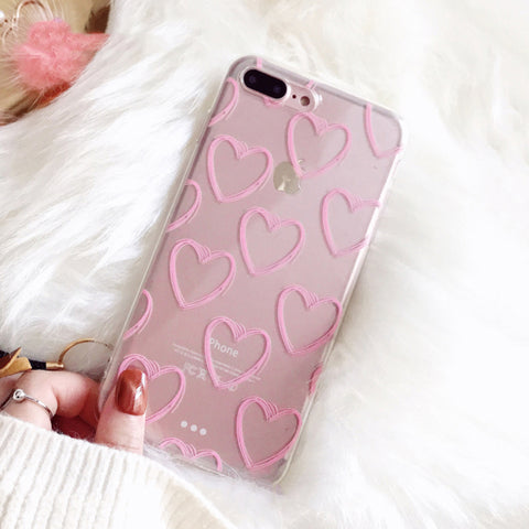 Ultra-thin Pink Love Heart Soft TPU Clear Phone Case For iPhone Xs Max XR XS 5 5S SE 6 6S 7 8 Plus X