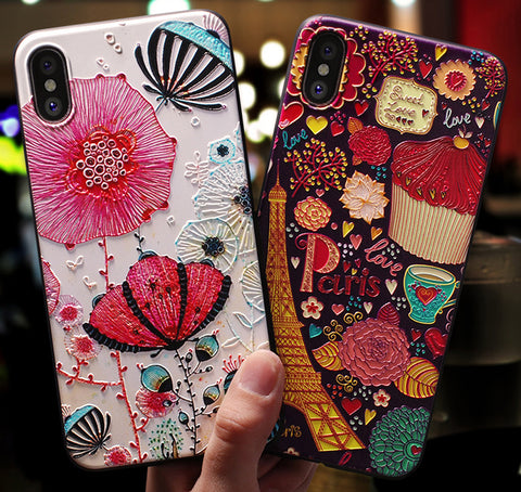 3D Emboss Cartoon Patterned Phone Case For iphone