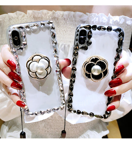 Diamond Floral Transparent Phone Case for iphone Samsung