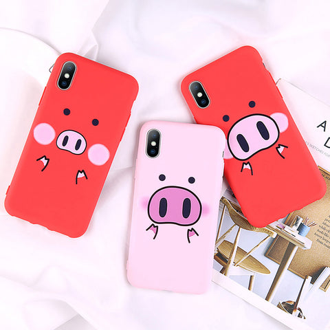 Funny Pig Pattern Phone Case Cartoon Letter Cases For iPhone TPU Silicon Cover