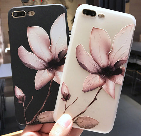 Lotus Flower Case For iPhone 8 Plus XS Max XR 3D Relief Rose Floral Phone Case For iPhone X 7 6 6S Plus 5 SE TPU Cover