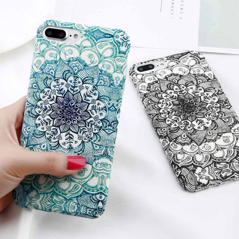 Luminous Flower Case Mandala Pattern Phone Cases Slim Matte PC Back Cover For iPhone