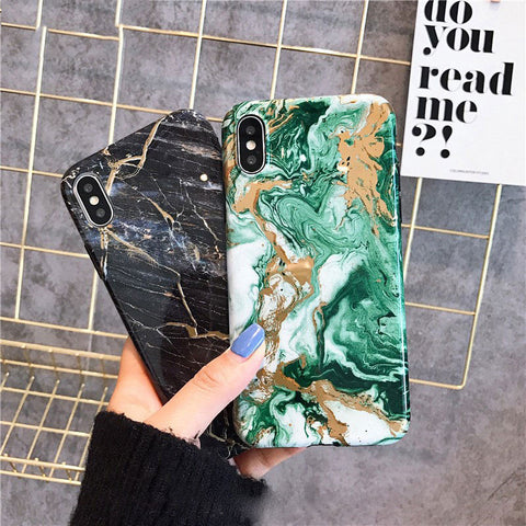 Marble Phone Case For iphone X XR XS Max Silicone Black Gold Fashion Soft Cover