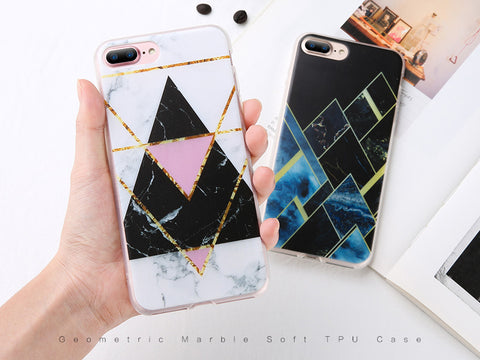 Soft Silicone Marble Case For iPhone