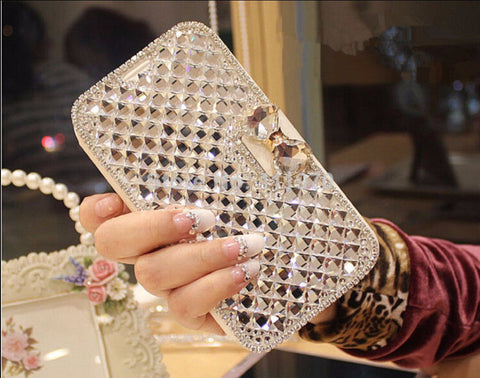 Luxury Bling Rhinestone Diamond for Samsung Galaxy iphone Wallet Flip Phone Leather Case Cover